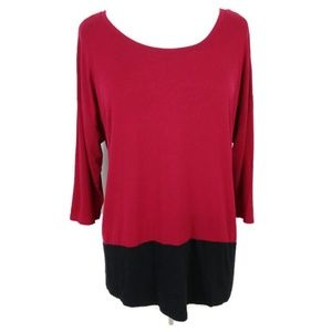 Lane Bryant Red and Black Scoop Neck Tunic